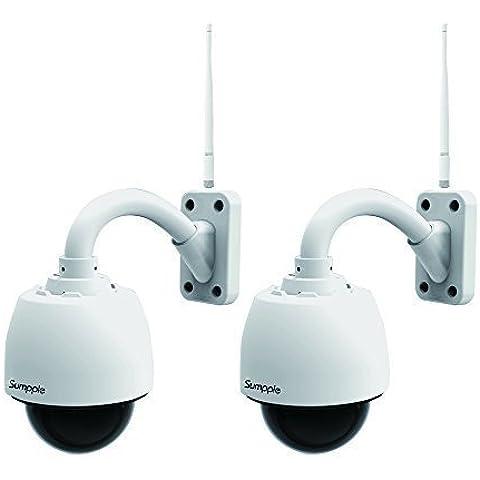 Sumpple 2X IP Network Camera Wifi Wireless/Cablato Videocamera 960P 1.3M 4X Zoom Ottico Pan/Tilt IP66 Impermeabile Outdoor, Visione Notturna, Registrazione Video, Cattura Schermate, Rilevamento Movimento, Supporto IOS, Android o Laptop PC Bianco