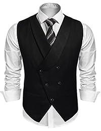 Burlady Herren Western Weste Herren Anzug Weste V-Ausschnitt Ärmellose  Westen Slim Fit Anzug Business… 7b1a086a17