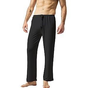 ZSHOW Herren Baumwoll Yoga Hose Lange Schlaf Hosen Weiche Strick Pyjama