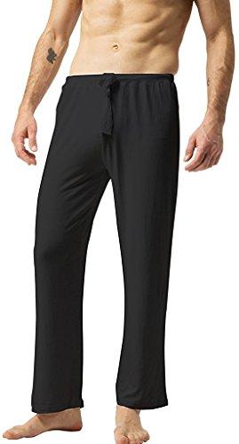 ZSHOW Hombre Pantalones De Yoga De Algodón Pantalones Largo De Pijama(Negro, Small)