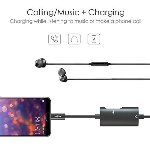 Aux USB C Adapter, Kolpop 2 in 1 USB C auf Klinke Typ C auf 3.5 mm Jack Kopfhörer Adapter mit Ladekabel für Huawei P20 / P20 Pro/Mate 10 Pro/Mate 20 Pro/Mediapad M5, Xiaomi 6/8, Sony Xperia XZ2 - 3