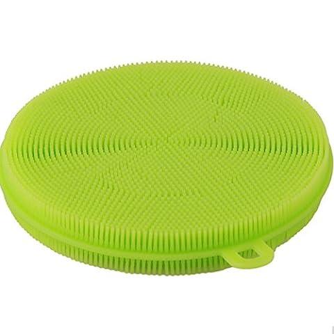 Tankerstreet éponges non Scratch anti-bactérien, Tampons à récurer pour plat casseroles anti-adhésif Bol, Extra Doux en silicone Brosse à tapis Aspirateur Passe au lave-vaisselle Large 9 cm (Vert)