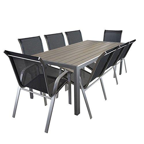 9tlg. Gartengarnitur Aluminium Gartentisch mit Polywood-Tischplatte 205x90cm Gartenstuhl Gartensessel Stapelstuhl pulverbeschichtet mit Textilenbespannung Terrassenmöbel Gartengarnitur Sitzgruppe