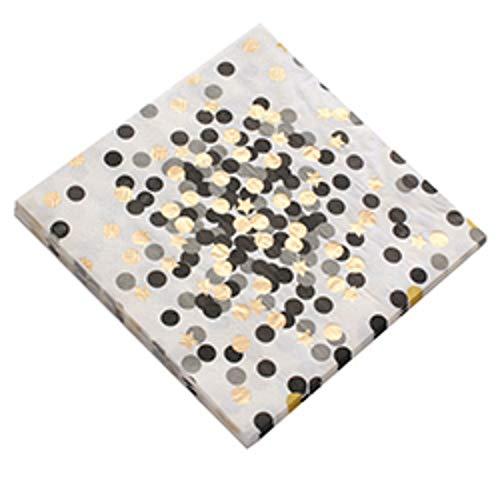 RZRCJ Partygeschirr (Spielzeug) Rose Gold Dots Einweg-Serviette / Tassen / Teller Hochzeit Baby Shower Kids Birthday Party Dekor Einweggeschirr Papierserviette, Schwarzer Punkt (Ostern Und Teller Servietten)