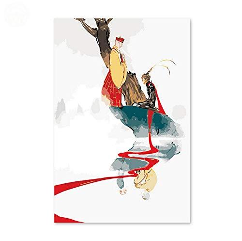 Monkey King Sun Wukong Tang Nach Westen Gerichtete Digitale Malereimalerei Der Reisekarikatur Durch Zahlen Landschaftlich An Der Wand ()