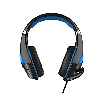 haodene Premium Anti Noise Stereo Audio with LED Lamp Video Games Gaming Ps4Gamer Headset Gaming Headset with Microphone Suitable for Xbox One PC Laptop Tablet, Blue