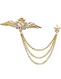 Imported Gold Crystal Wing Star Brooches & Pins for Women