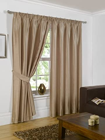 Luxury Faux Silk Slubbed Latte Fully Lined Readymade Curtain Pair 66x90in(167x228cm) Including One Pair Of Co-Ordinating