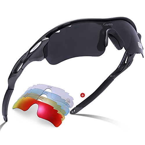 Carfia Sport Sonnenbrille UV400 Schutz Polarisierte Sonnenbrille Sportbrille für Herren Damen, 5 Wechselbare Linsen (B)