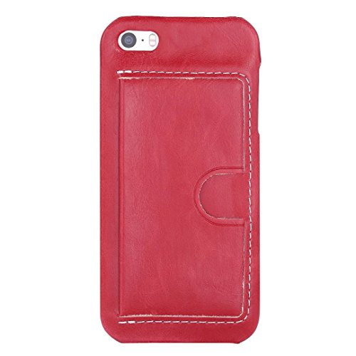 JIALUN-Telefon Fall iPhone 5 5S SE Fall Abdeckung, Einfarbig PU Ledertasche mit U-Design-Kartensteckplatz für iPhone 5 5S SE ( Color : A , Size : IPHONE 5S SE ) F
