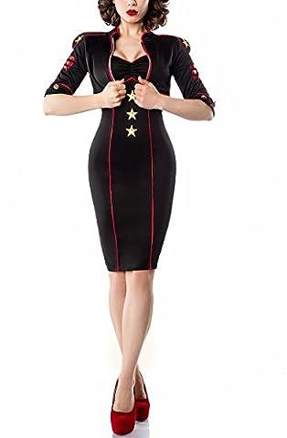 Schwarzes Damen Marine Kostüm mit goldenen Sternen mit Kleid und Jacke Marine Uniform Damen S
