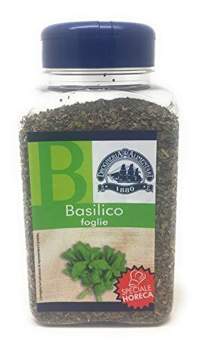 basilico in foglie essicato - 135 g - pianta aromatiche estiva - ingrediente tipico della cucina e mediterranea - ricco di vitamine, sali minerali antiossidanti - spezia fresca profumata e gradevole