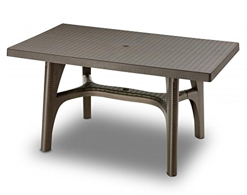 Ideapiu Table rectangulaire 140 x 80, Table rotin synthétique, Table Tissage Ratan Bronze
