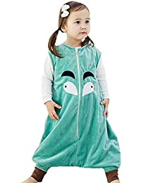 Ruiying Bebé Dormir Algodón Wearable Cobija Lightweight Bebé Chicas Sin mangas Dormido Bolso con Pies Franela Cremallera Saco de…