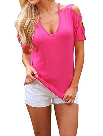 Nicetage Damen Kurzarm V-Ausschnitt Schulterfrei Shirt Locker Stretch T-Shirt Tops Kalt Schulter Bluse 02Rose M