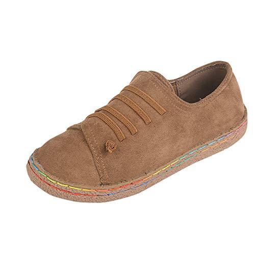 POLP Botas Calzado Casual Mujer otoño Antideslizante Talon Zapatos señora Invierno Botas de Vestir Botines de Cuero con Cordones Botines Mujer Planos Botines Planos Zapatos Planos Botines Caqui
