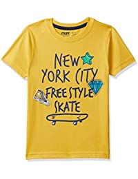 Max Boy's Plain Regular fit T-Shirt (P18DBT29_Yellow_3-4Y)