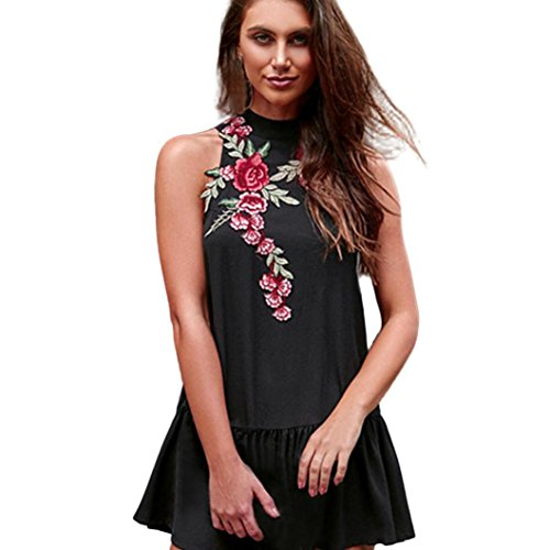 Bluestercool Femmes sans manches brodé Floral Evening Party Mini Robe courte Noir Noir