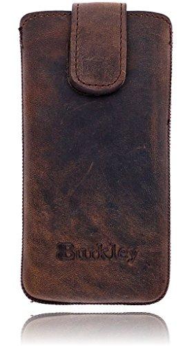 Burkley Apple iPhone 8 / iPhone 7 Hülle   Premium Lederhülle   Handyhülle   Tasche   Schutzhülle   Handytasche   Ledertasche   Hülle   Sleeve   Cover   Case Etui mit Klettverschluss (Sattel Braun) Mehrfarbig