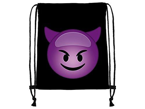 Veuer Jute-Beutel mit Teufel Smiley Emoticon Emoticons Smilie Motiv Aufdruck Sportbeutel Rucksack Beutel Tasche Jugendliche Sport-Tasche Sport-Unterricht VRU-197 VRU-197