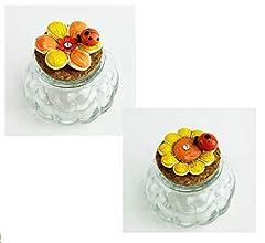 Idea Regalo - DLM26577 (Kit 12 Pezzi) Barattolo in Vetro con Margherita Fiore Girasole Tulipano e Coccinella Portafortuna bomboniera