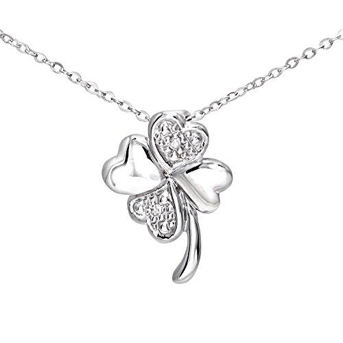 Naava - Collar de mujer de oro blanco (9k) con 2 diamantes,...