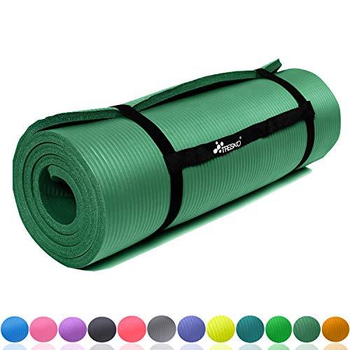 TRESKO Fitnessmatte Yogamatte Pilatesmatte Gymnastikmatte   185 x 60cm oder 190 x 100cm   1,0 oder 1,5cm stark   Phthalates-getestet   NBR Schaumstoff (Grün, 185 x 60 x 1 cm)
