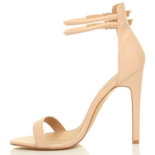 Sandali da Donna Tacco Alto a Stiletto Doppio Cinturnino Nudo opaco