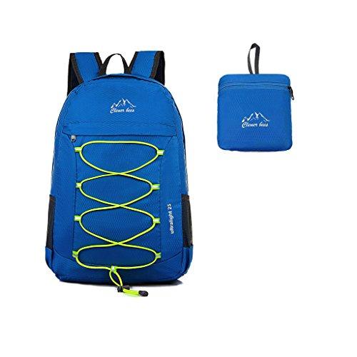 Kukome(TM) 25 L Faltbare Ultraleicht Wasserdicht Outdoor Sporttasche Reisen Klettern Wandern Radfahren Rucksack / Tagesrucksack für Männer / Frauen und Kinder (Blue)