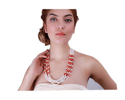 5x 7mm Perle Süßwasserperle weiß oval und rot oval Coral Mehrreihige ()