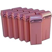 EPILWAX S.A.S - Lote De 12 Cartucho Roll-ons de 100 ml de Cera depilación Desechables Rosa, con roll-on Grande Modela para las piernas, axilas, y el cuerpo. Para Calentador profesional de 100 ml
