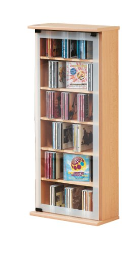 VCM Regal DVD CD Rack Medienregal Medienschrank Aufbewahrung Holzregal Standregal Möbel Schrank Möbel Buche