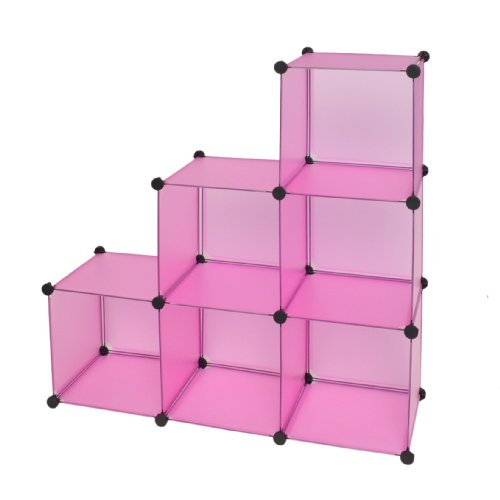 ts-ideen Regalsystem Büro Flur Regal Schrank Steckregal Wandregal Kinderregal Bücherregal in Pink Transparent 114 x 114 cm