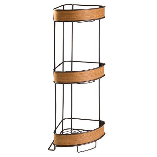 InterDesign RealWood Estantería esquinera de pie; estantería para baño en metal con detalles de madera, mueble auxiliar, bronce/teca