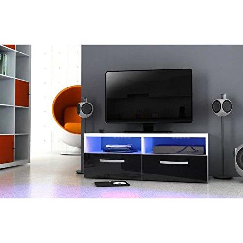 Kosmo meuble tv avec éclairage led 97 cm - noir haute brillance