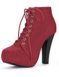 Allegra K Damen Spitzschuh Stiletto Hoch Absatz Chelsea Stiefel, Rot/EU 40