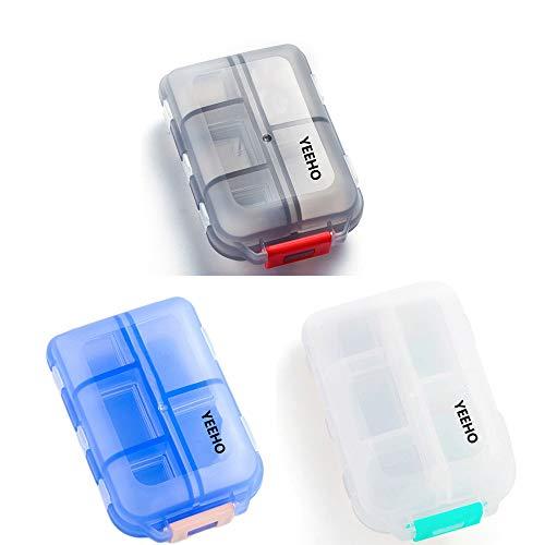 YEEHO Pillenetui - Tragbare Klapp-Tablettenbox Mit 7 Fächern - Medikamentenkapseln Vitamin Faltbarer Organizer Container Aufbewahrung 3 pack (schwarz, blau, weiß)