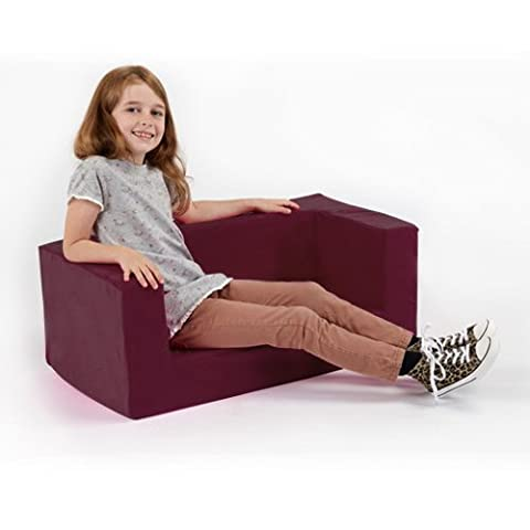 Children's Comfy Foam 2 Seater Mini Sofa in Purple. Soft, Colourful, Comfortable & Lightweight with a Removeable
