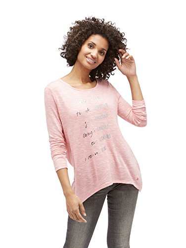 Tom Tailor für Frauen T-Shirt Langarmahirt mit Schrift-Print wild apricot