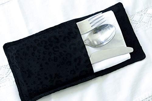 Bestecktaschen 2 x Handmade schwarz Leomuster edel Besteck Serviette Dragonfly Serviette