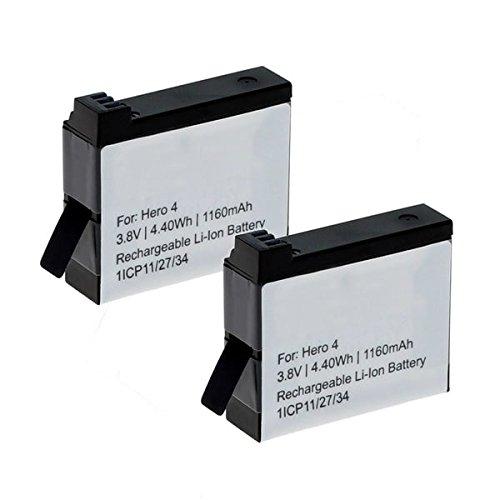 Cellonic 2X Batteria Premium Compatibile con GoPro Hero4 Black Edition Hero 4 Silver Edition Hero 4+ Hero 4 Plus, (1160mAh) AHDBT-401 335-06532-000 Batterie di Ricambio accu Sostituzione sostituto