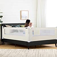 Kids Bed Rail Portable Bed Guard Rail Protective Toddler Safety Bed Rail with Safety Lockable Buckle for Travel and Home Use Beige, 8 Gears Adjustable to Fit Your Mattress