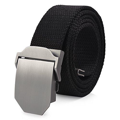 VBIGER Cinturón de lona con hebillas automáticas para hombre Un tamaño Negro 2