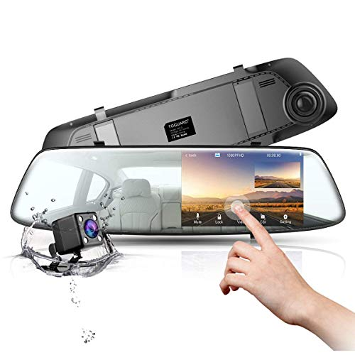 Mirror Dash Cam 4.3 Inch Touch Screen, TOGUARD 1080P Full HD Front Car Camera Video Recorder and Rear view Backup Camera Dual Lens with Parking Monitor G-Sensor Loop Recording Reverse Camera
