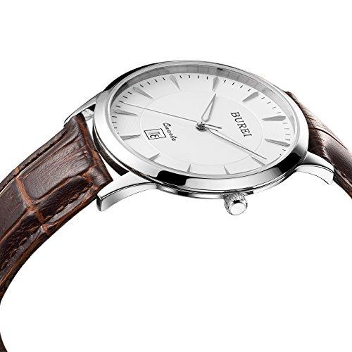 BUREI Dünne Business Herren Armbanduhr mit Weißem Ziffernblatt Saphirglas Braun Echtes Lederband Analog Quartzuhrenwerk Datum Kalender Wasserfeste Armbanduhr