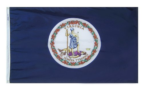 Annin Flagmakers 145650 Virginia State Flag Nylon SolarGuard NYL-Glo, 2 x 91 cm, 100% Offiziellen Designspezifikationen 3x5' Nicht zutreffend -
