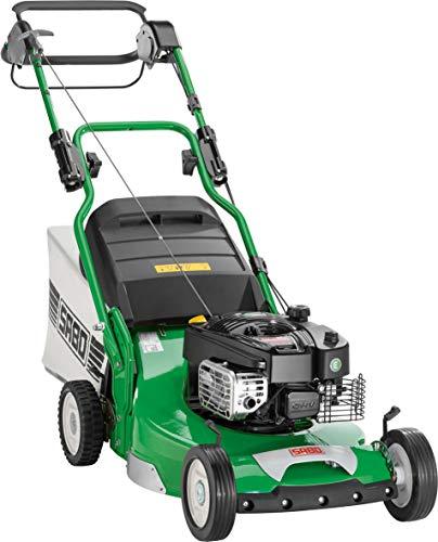 Benzin-Rasenmäher SABO 54-PRO A, Schnittbreite 54 cm, Schnitthöhe 15-95 mm, Hinterradantrieb, Rasenflächen bis 5.000 m²/h, 75 L Grasfangkorb, robustes Alu-Chassis mit Stahleinlage, Nennleistung 3,2 kW