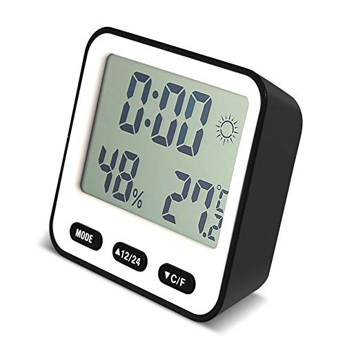 SYXZ Multifunktions-Digitalwecker Elektronisches Digitales Thermometer Hygrometer LCD-Timer 4 Farbthermometer-Wecker,Black