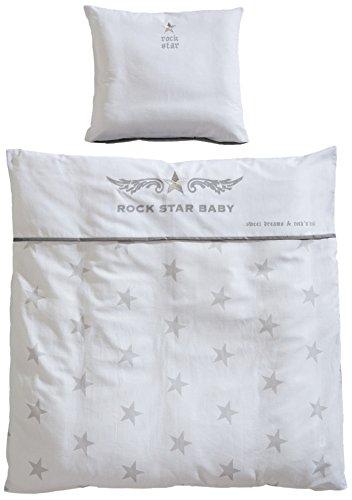 Preisvergleich Produktbild roba Wiegenbettwäsche 2-tlg, Wiegenset Kollektion 'Rock Star Baby 2', Baby Bettwäsche 80x80 (Decke & Kissen), 100% Baumwolle