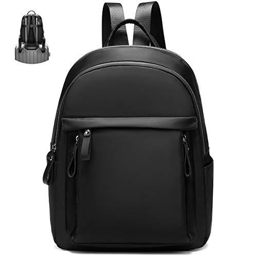 Myhozee Zaino Donna, impermeabile Borsa Zainetto Nylon Borse Zaini Backpack Daypack per Viaggio Lavoro Scuola (Nero)